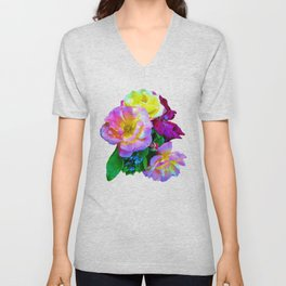 Rosa Yellow Roses on Black Unisex V-Neck