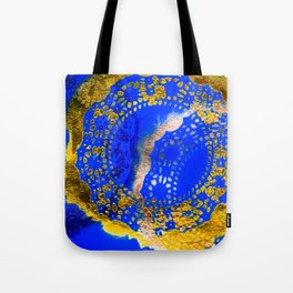 Royal Blue and Gold Abstract Lace Design Tote Bag