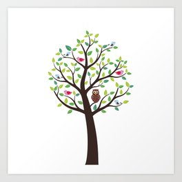 The bird tree guardian Art Print