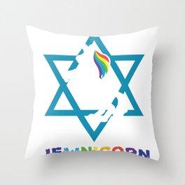 Jew David Star Unicorn Rainbow Gift Throw Pillow