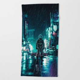 Another Rainy Night ( The Continuous Tale Of The Lost Astronauta) Beach Towel