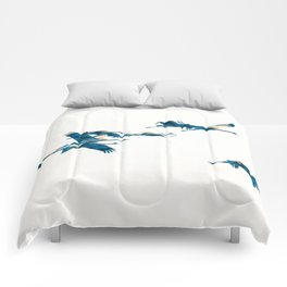Beautiful Cranes in white background Comforters