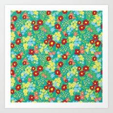 Teal Floral Pattern Art Print