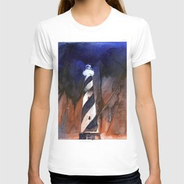 Cape Hatteras lighthouse- Outer Banks, North Carolina.  Lighthouse painting OBX. T-shirt