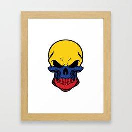 Colombian Flag Skull Framed Art Print