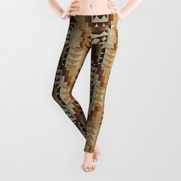 Orange Khaki Dark Caramel Coffee Brown Rustic Native American Indian Mosaic Pattern Leggings