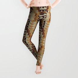Orange Khaki Dark Brown Mosaic Pattern Leggings