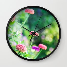 Zinnia Patch in Pink Wall Clock