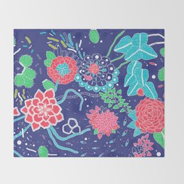 Flowers and Cactus Throw Blanket