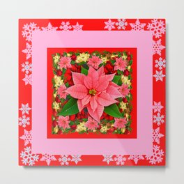 PINK SNOWFLAKES RED & PINK POINSETTIAS CHRISTMAS ART Metal Print
