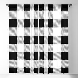 western country french farmhouse black and white plaid tartan gingham print Blackout Curtain