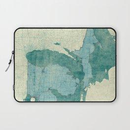 Michigan State Map Blue Vintage Laptop Sleeve