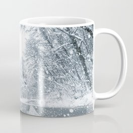 Winter forest snow road. Forest road winter snow view. Coffee Mug