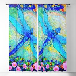 BLUE DRAGONFLY PINK ROSES BOHEMIAN  FANTASY ART Blackout Curtain
