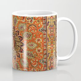 Central Persia Qum Old Century Authentic Colorful Orange Yellow Green Vintage Patterns Coffee Mug
