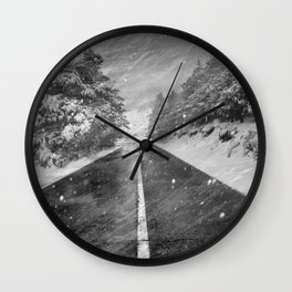 """""""Snowstorm in the road"""" At the mountains Wall Clock"""