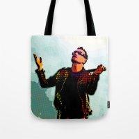 u2 Tote Bags featuring U2 / Bono 2 by JR van Kampen