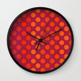 """Warm Burlap Texture & Polka Dots"" Wall Clock"