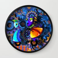 robots Wall Clocks featuring Robots by aboutlaila