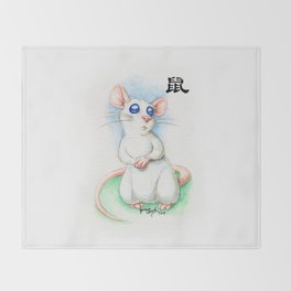 Chinese Zodiac Year of the Rat Throw Blanket