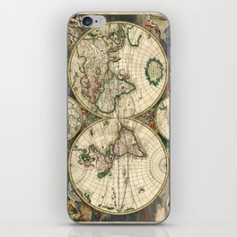 Old map of world hemispheres. Created by Frederick De Wit, 1668 iPhone Skin