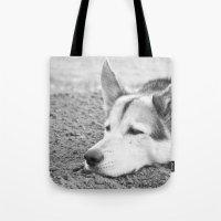 husky Tote Bags featuring husky by MrBdigital