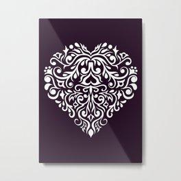 white damask heart Metal Print