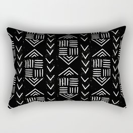 mudcloth 6 minimal textured black and white pattern home decor minimalist Rectangular Pillow