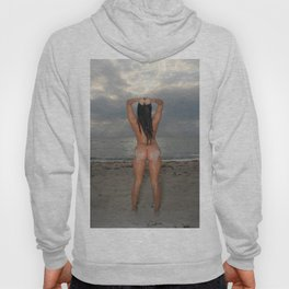 9524-SS Naked Woman Nude Beach Sand Surf Sandy Handprint Big Breasts Long Black Hair Sexy Erotic Art Hoody