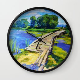 Wooden bridge Wall Clock