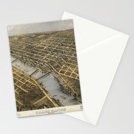 Aerial View of Grand Rapids, Michigan (1868) Stationery Cards