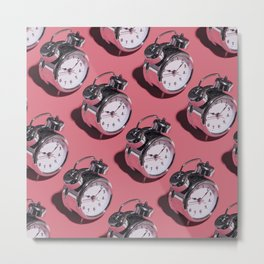 Don't Be Late! - Kitschy Clocks on Pink Metal Print