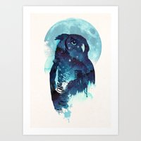 owls Art Prints featuring Midnight Owl by Robert Farkas