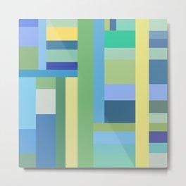 Abstract Blue Mint Green Geometry Metal Print