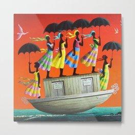 African American Masterpiece 'My Pink Bird Following Me' by O. Bulman Metal Print