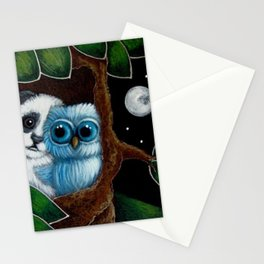 BLUE OWL...A PANDA VISIT Stationery Cards
