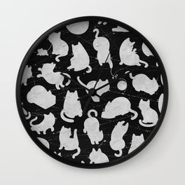 Silver Cats on Black Kitty Pattern Wall Clock