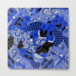Circles Dots Waves Blue Japanese Inspired Metal Print
