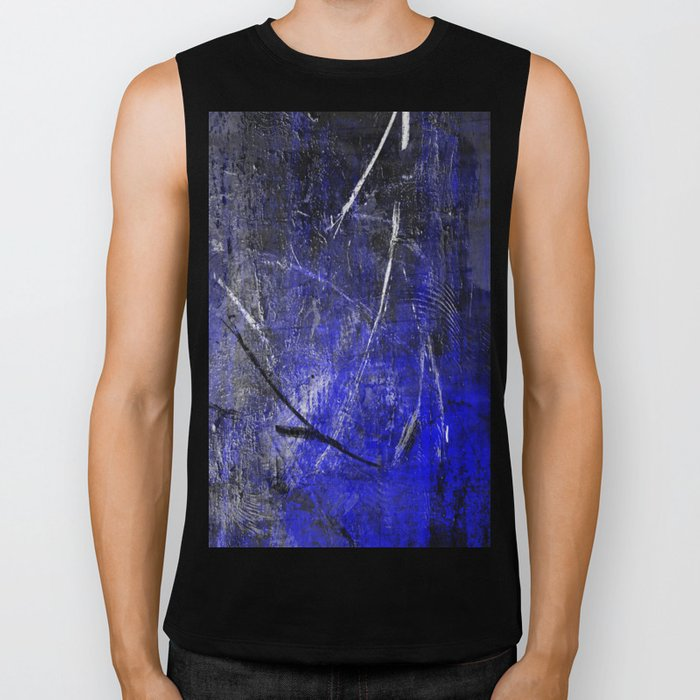 In The Dead Of Night - Textured Abstract In Blue, Black and White Biker Tank