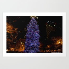 The Tree and the Tower (Chicago Christmas/Holiday Collection) Art Print