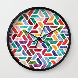 Seamless Colorful Geometric Pattern VIII Wall Clock