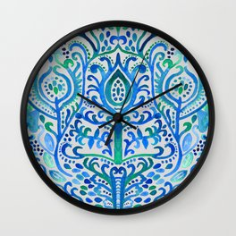 Sapphire and Emerald Watercolor Tulip Damask Wall Clock