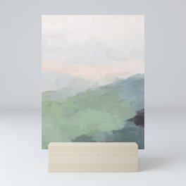 Seafoam Green Mint Black Blush Pink III Abstract Nature Land Art Painting Art Mini Art Print