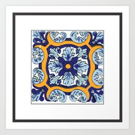 Talavera Mexican tile inspired bold design in blues and yellows Kunstdrucke