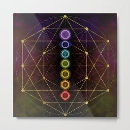 Colorful Glowing  Chakras Metal Print