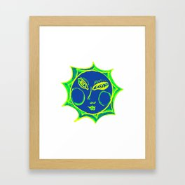 Smiling Green Sun with Blue Face Framed Art Print