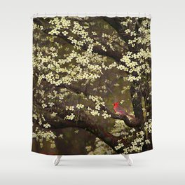 The Dogwoods and the Cardinal Shower Curtain