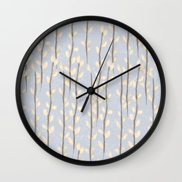 Pussy Willow Branches on Soft Grey Wall Clock