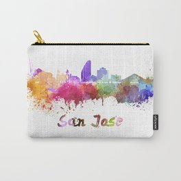 San Jose skyline in watercolor Carry-All Pouch