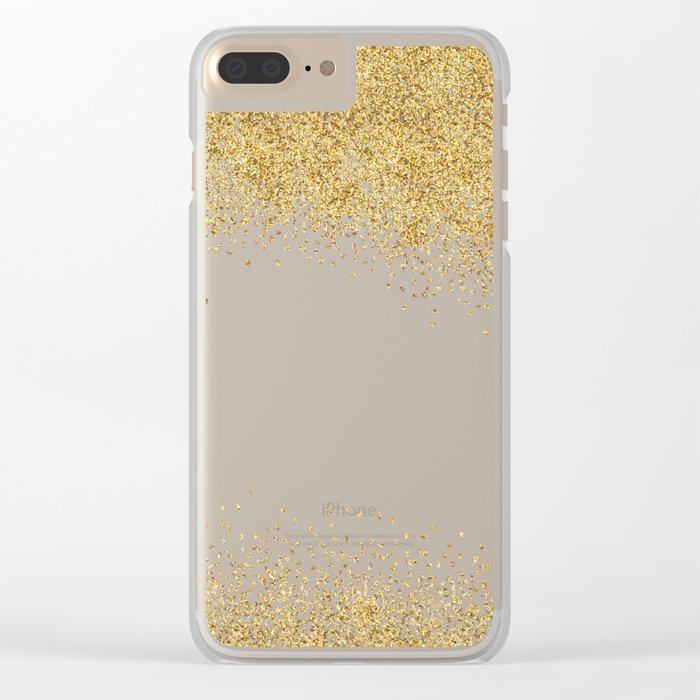 Sparkling golden glitter confetti effect Clear iPhone Case